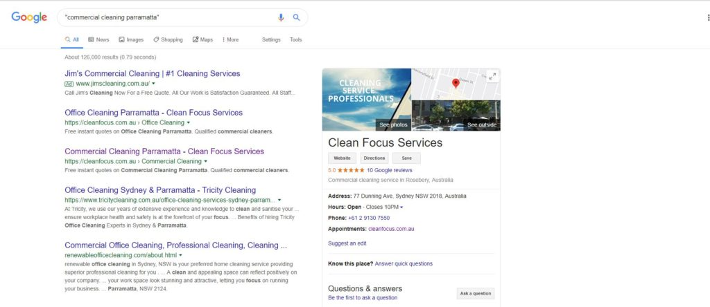 clean focus google search parramatta